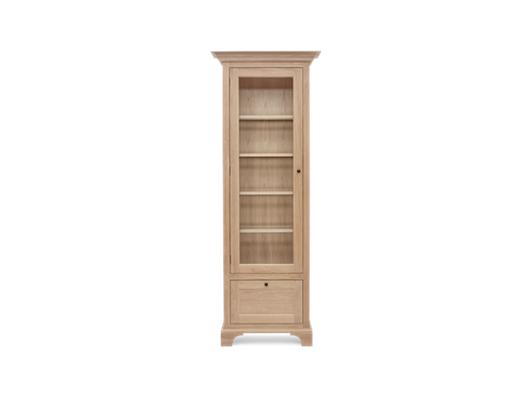 Henley Narrow Glazed Oak Cabinet Left Front