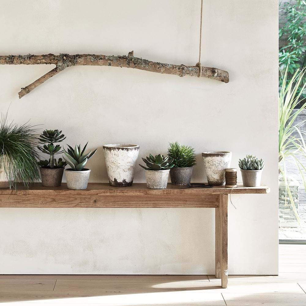 Pot Bench Display with Faux Potted Succulents