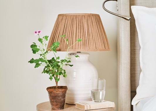 Small Corinium Bedside Lamp with Henry Gathered Shade