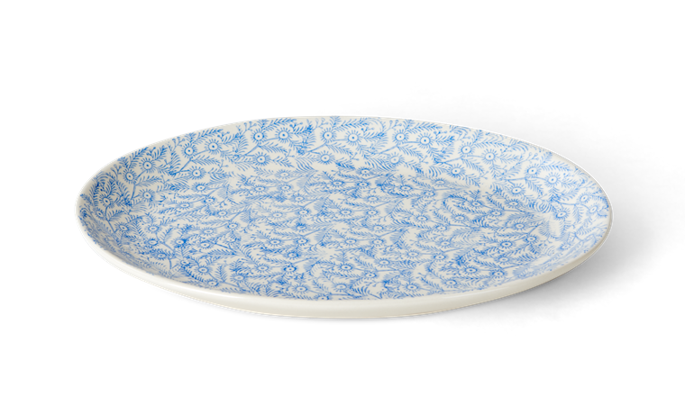 Olney serving platter, medium, flax blue_side