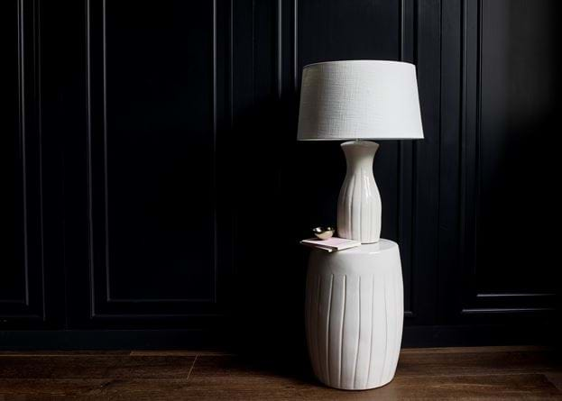 Beswick stool and lamp with Lucile shade