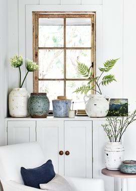 Botanical pots on window ledge