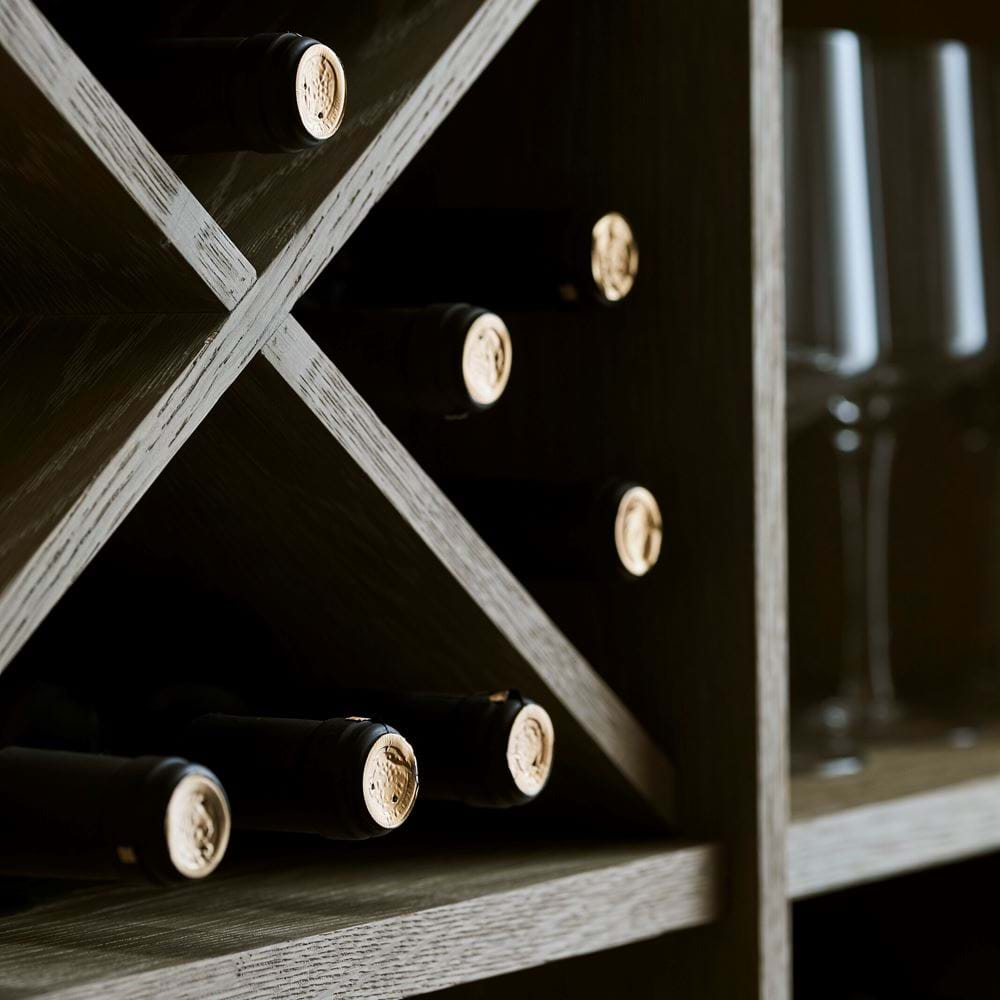 Chawton Oak Wine Shelf Detail
