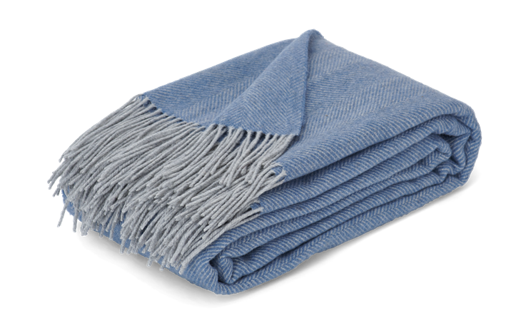 Westmeath Herringbone Throw Denim_3Quarter