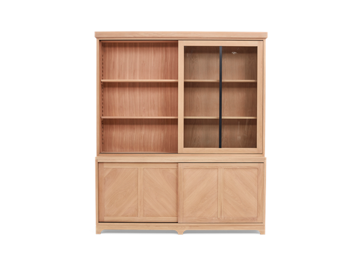 Holborn 6ft Glazed Dresser Natral Oak 009