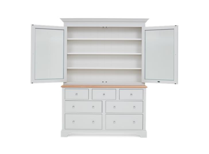 Chichester 5ft Glazed Rack Grand Dresser Top Front Doors Open