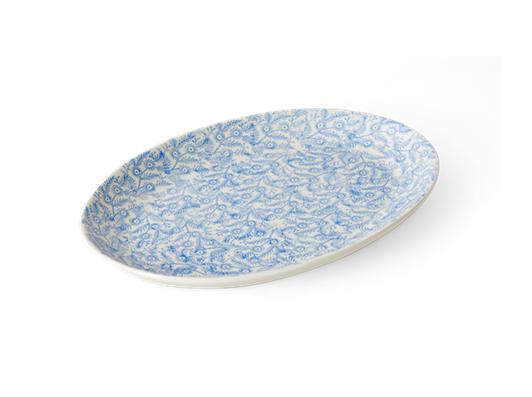Olney serving platter, medium, flax blue_3quarter