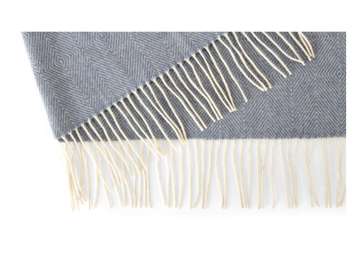 Helmshore throw, flax blue, reverse