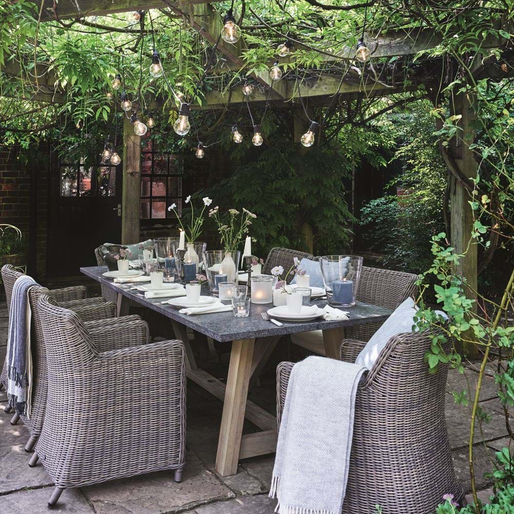 Pergola with Festoon Lighting over Stanway Garden Dining Table
