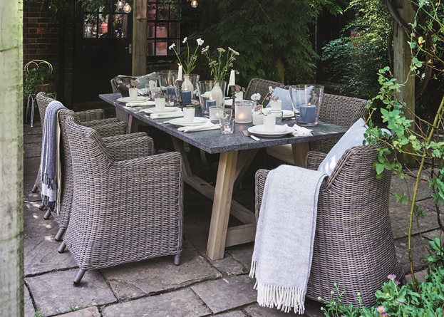 Stanway Bluestone 8 Seater Table & Stanway Carver Chairs_Garden Patio