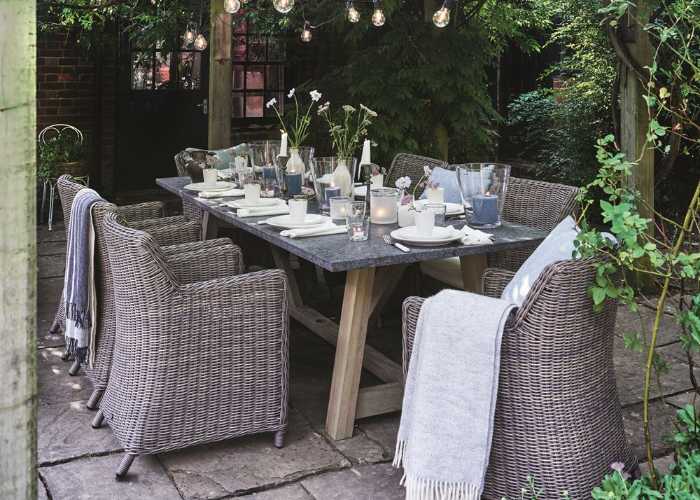 Stanway Bluestone Table with Toulston chairs_Garden Furniture_Pergola