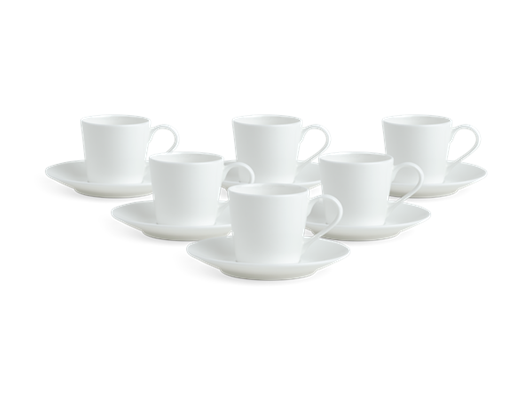 Fenton Espresso Cup and Saucer Set of 6 White