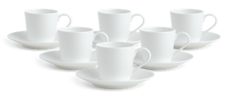 Fenton Espresso Cup & Saucers, set of 6, White
