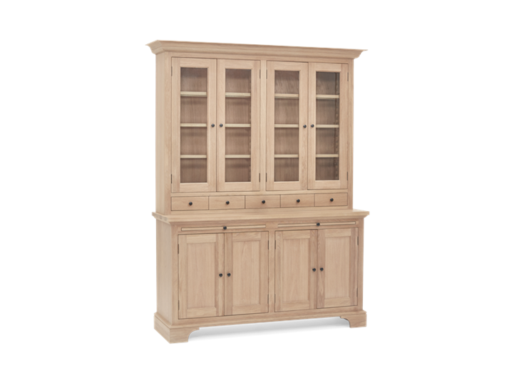 Henley 5ft Glazed Oak Dresser Top 3Q Doors Closed