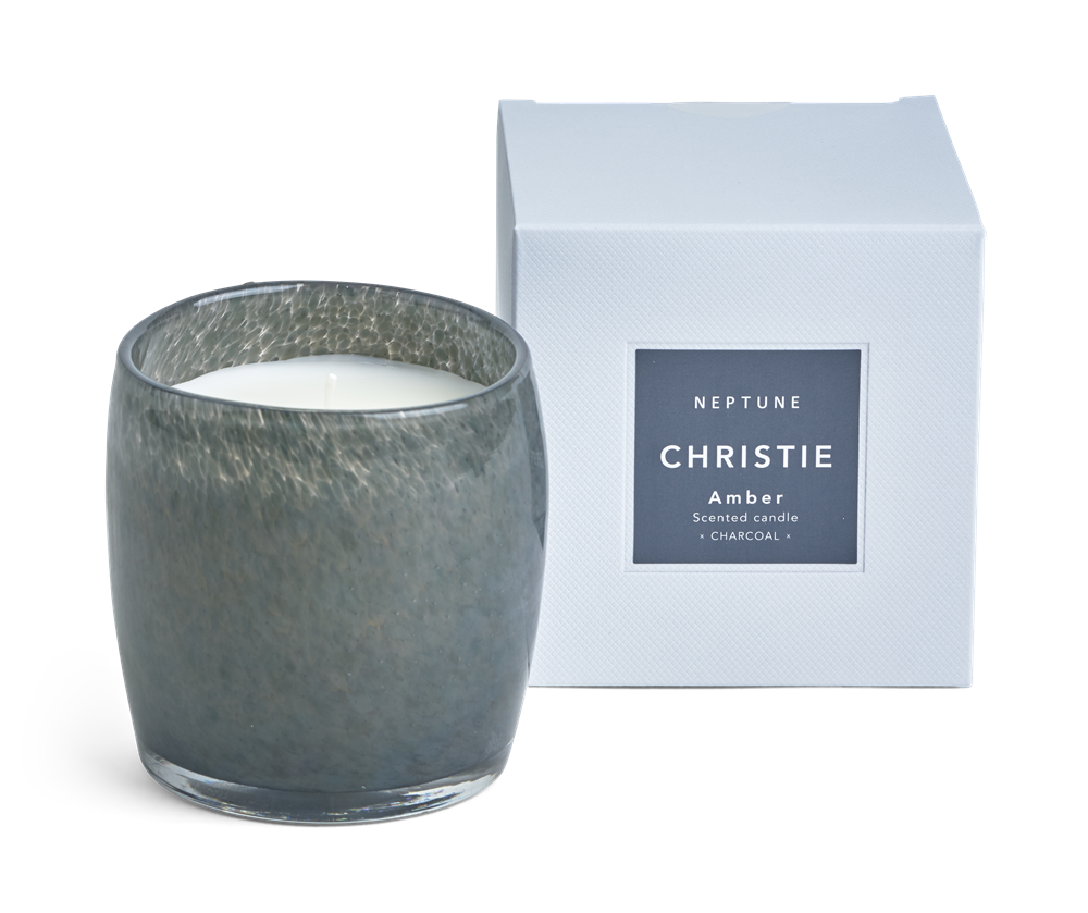 Christie Candle, Amber Scented - Charcoal Box