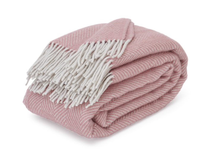 Cotswold Herringbone Throw Old Rose_3Quarter