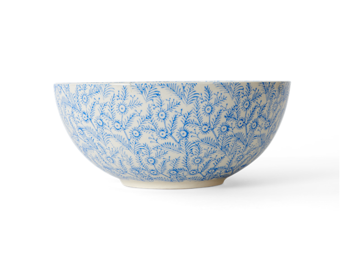 Olney serving bowl, small, flax blue_side