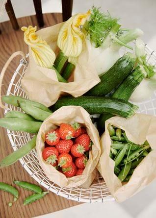 Vegetable and fruit basket overhead