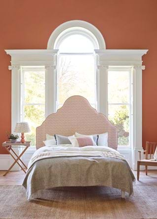 Clemmie Headboard_King_Lara Burnt Sienna_with Piping