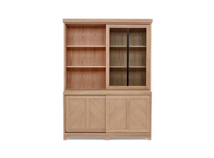 Holborn 5ft Glazed Dresser Natral Oak 003