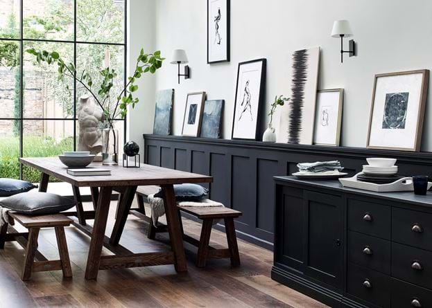 Arundel dining Darkened Oak with Chawton Sideboard painted in INK