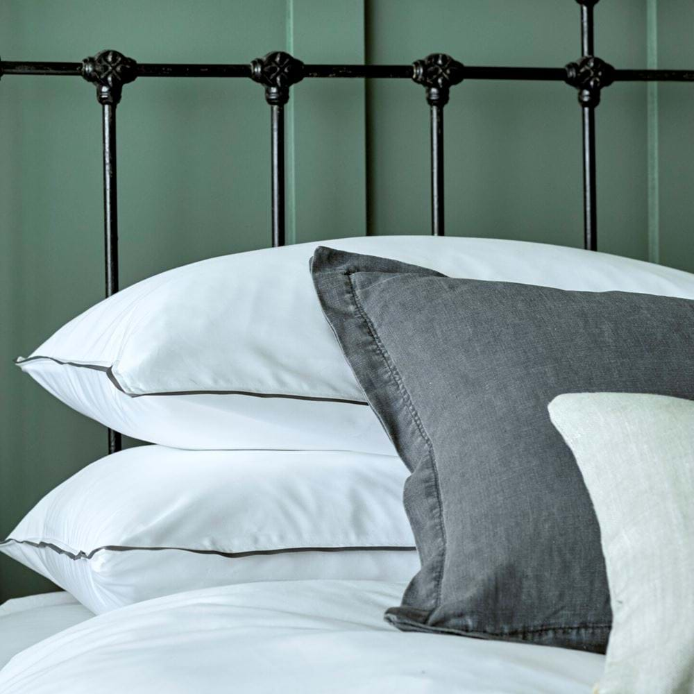 Beatrix cushion on Albertine bedlinen and Cactus panelling