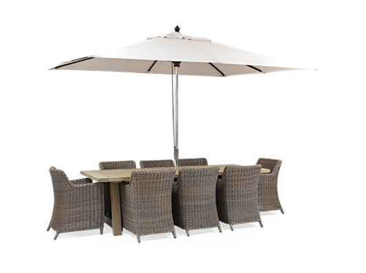 Stanway Teak and Stanway Dining Set with Parasol