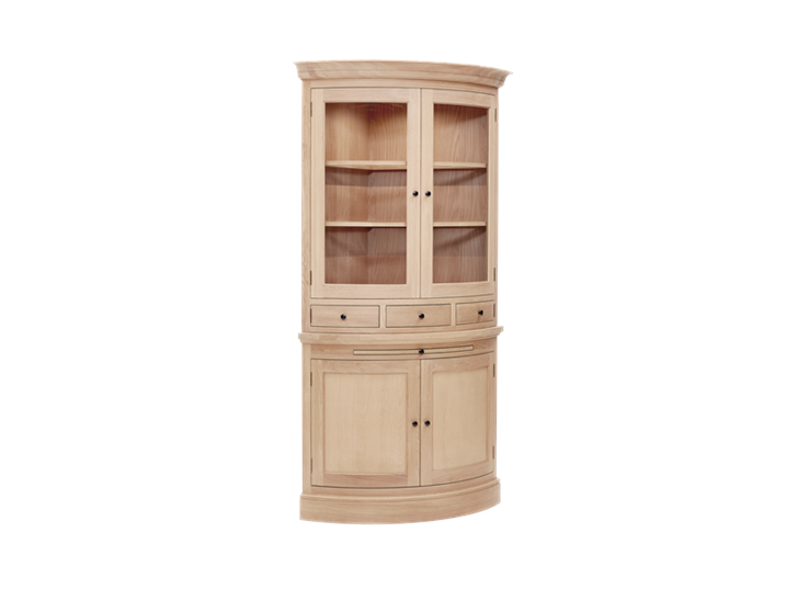 Henley Curved Oak Dresser Top 3Q Lights On