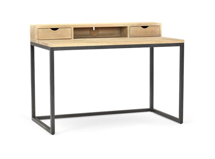 Carter 120 Desk - Black Steel _ Dark Vintage Oak 3Q