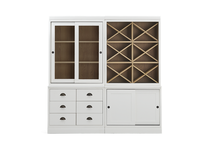 Chawton Low Double Dresser With Wine Shelves - Snow