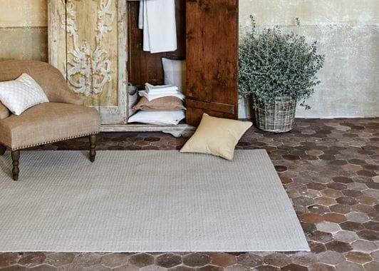 Longford oatmeal rug in bedroom
