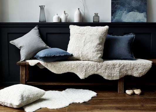 Arundel bench cushions & sheepskins