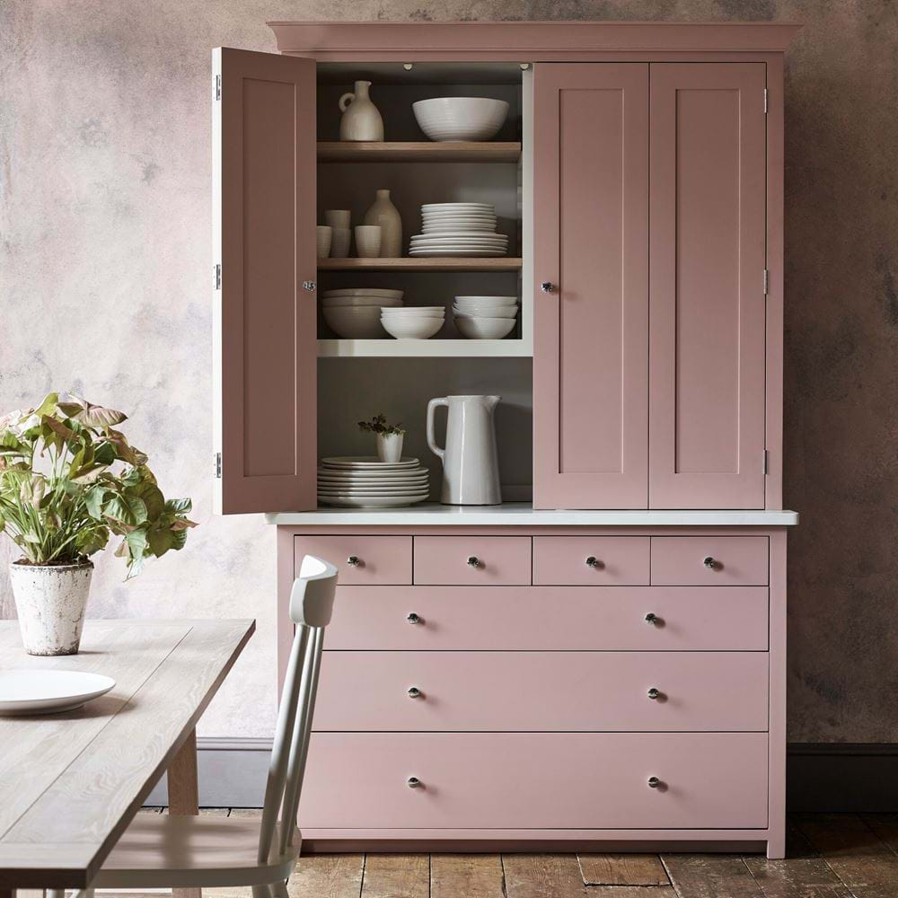 Suffolk Bi-Fold Dresser painted in Old Rose Pink Eggshell