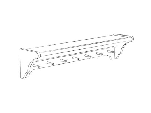 CHIK-LAU-SHELF-1300 1300 laundry shelf - 7 pegs