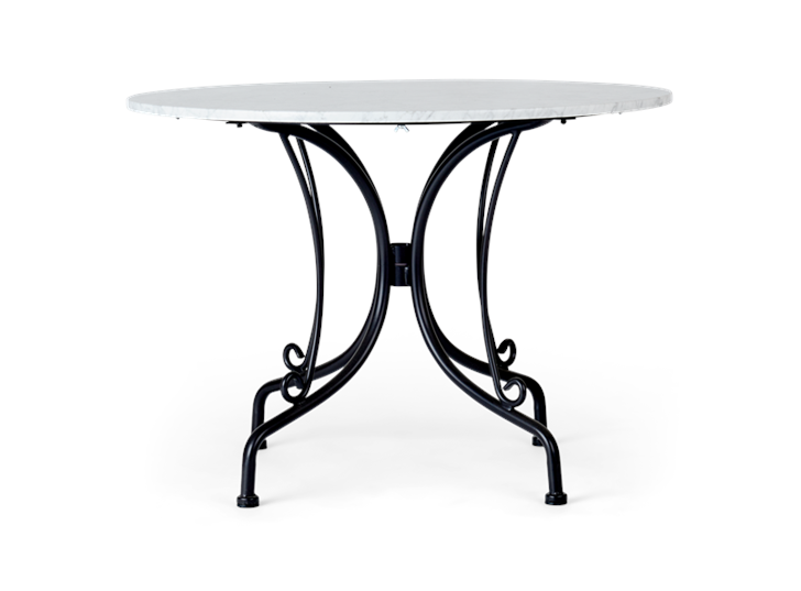 Boscombe 4 Seater Table, Black & marble_front