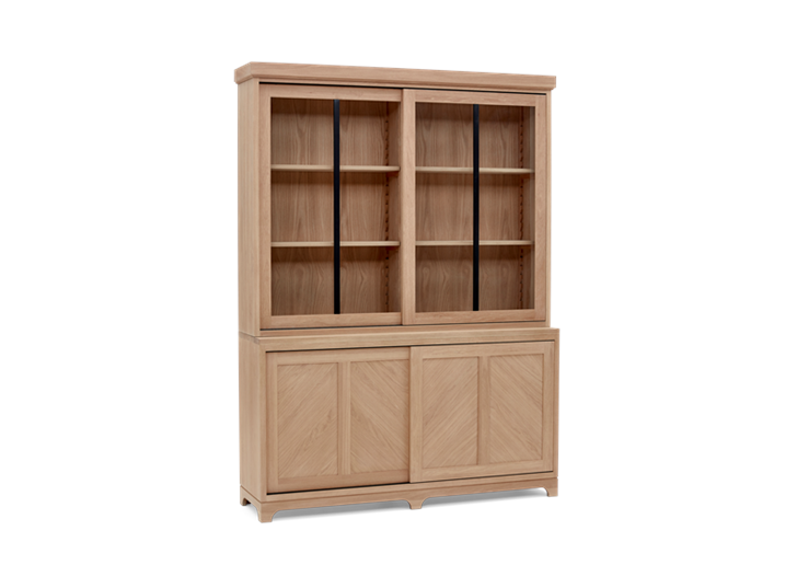 Holborn 5ft Glazed Dresser Natral Oak 005