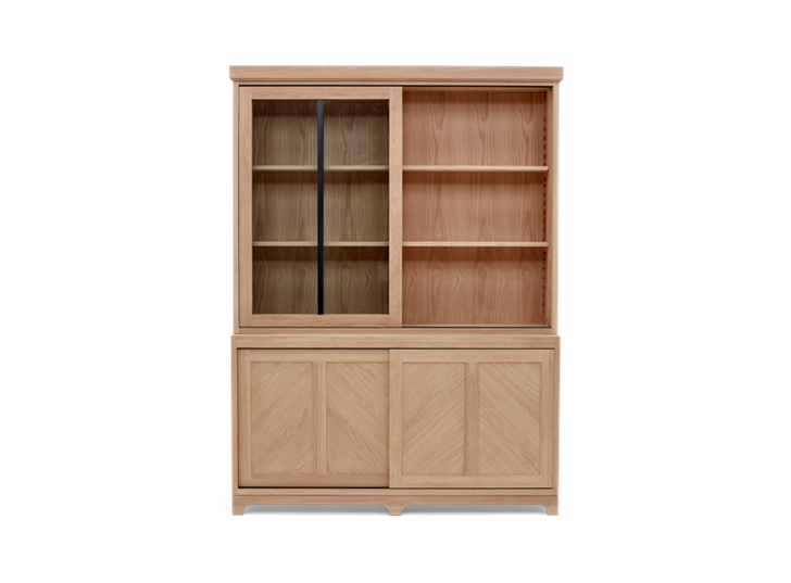 Holborn 5ft Glazed Dresser Natral Oak 004