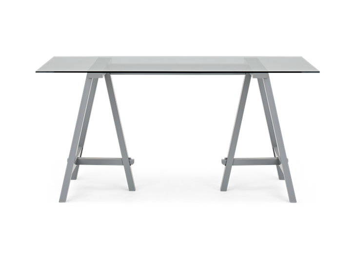 Hebden 150 Trestle Table_Glass Top_Fog Legs_Front