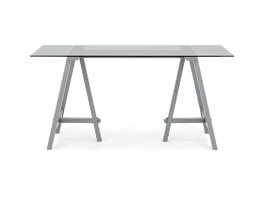 Hebden 150 Trestle Table_Glass Top_Fog Legs_Front