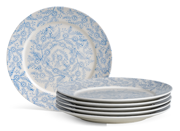 Olney Side Plate Set of 6 Flax Blue_Stack