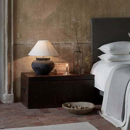 Edith Linen Bedding Distressed Wall Herstal Lamp