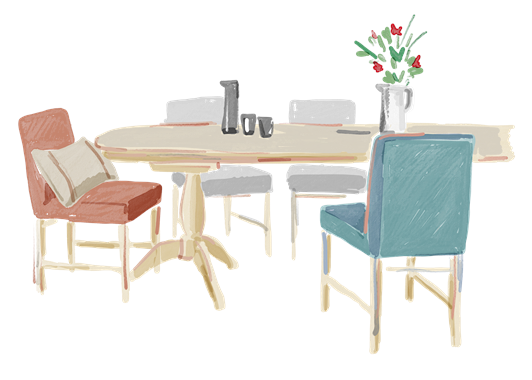 Dining illustrations - Henley table and chairs 6 Seater