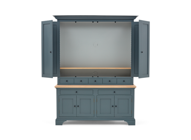 Henley 5ft AV Cabinet Smoke Front Open 2