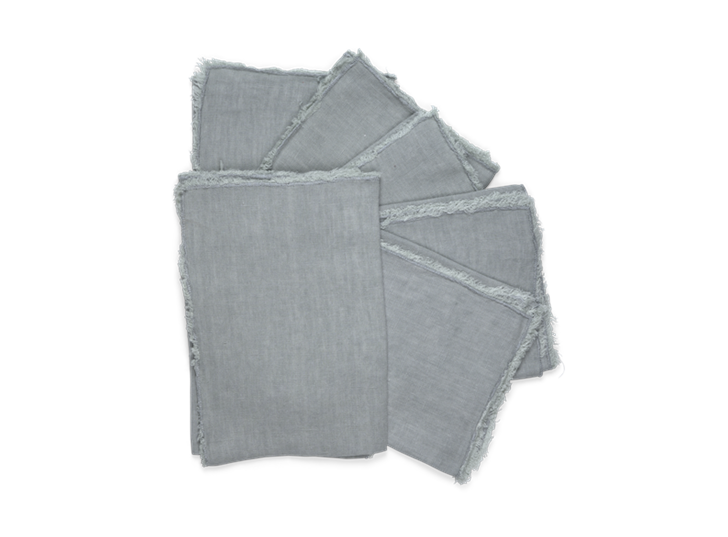 Antonia Fringed Napkins Set of 6 Powder Blue_Stack