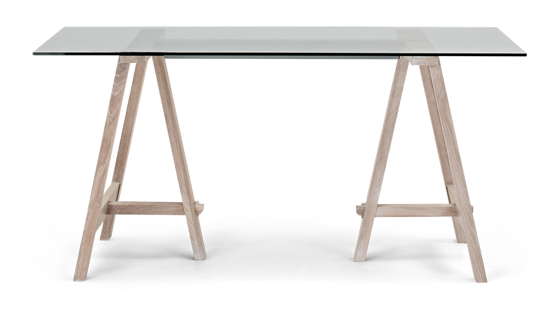 Hebden 150 Trestle Table_Glass Top_Chalked Oak Legs