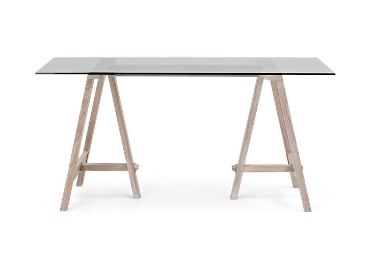 Hebden 150 Trestle Table_Glass Top_Chalked Oak Legs