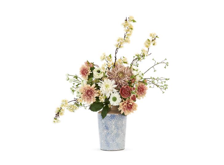 Dahlia & Apple Blossom Bouquet with Thursfield tall vase