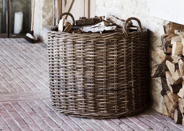 Somerton large round log basket