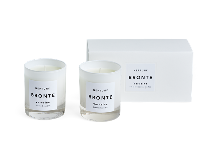 Bronte Verveine Scented Candles, White, Set of 2 Box