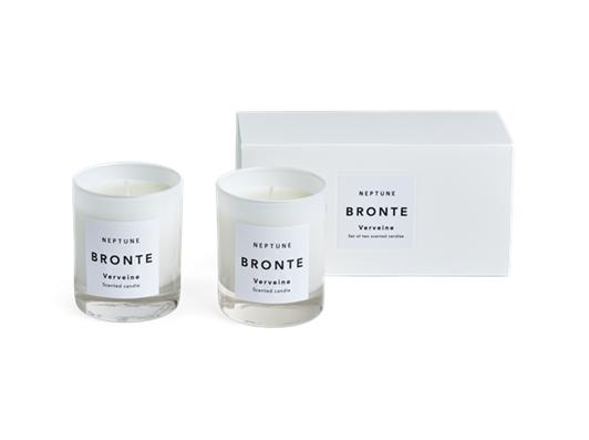 Bronte Verveine Scented Candles, White, Set of 2 Box